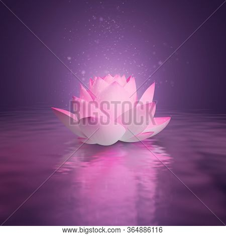 Pink Lotus On The Water Surface. Pink Shine. 3d Generated Image. Dark Lilac Background. Reflection I