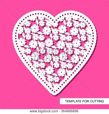 Openwork Heart Of Flowers And Leaves, Cut Out Of Paper. Cute Valentine February 14 Or Wedding. Silho