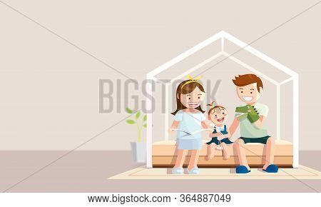 Stay Home Banner. Happy Family Staying At Home During The Coronavirus, Covid-19 Quarantine. Vector I