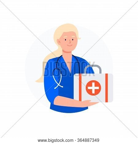 The Paramedic Holds A First Aid Kit. Medical Worker Avatar. Flat Vector Characters.