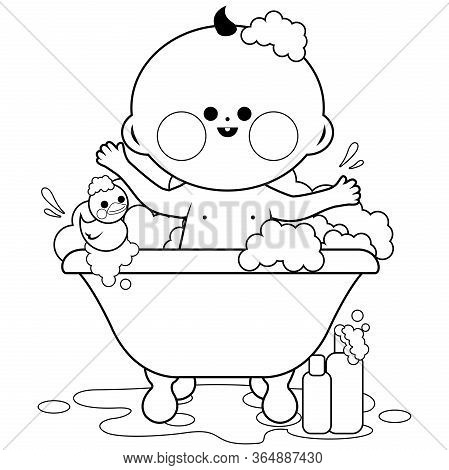Baby In A Tub Taking A Bath. Black And White Coloring Book Page