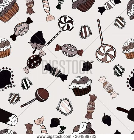 Pattern On Brown, Neutral And Black. Seamless Of Variety Muffins, Poppy Seed, Chocolate Chip, Pumpki