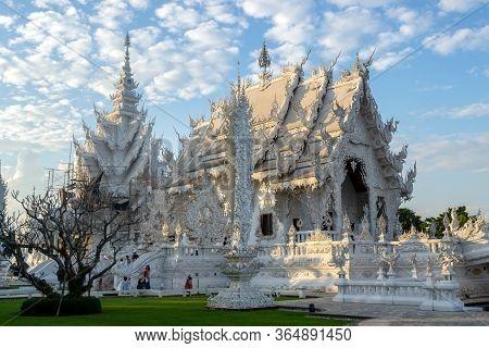 Chiang Rai, Thailand - December 10, 2019: White Temple, Wat Rong Khun At Sunset