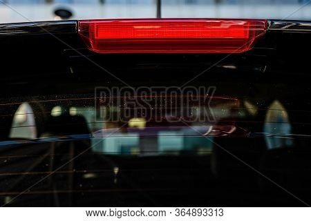 Rear Window With Brake Ligh Of The Car - Image