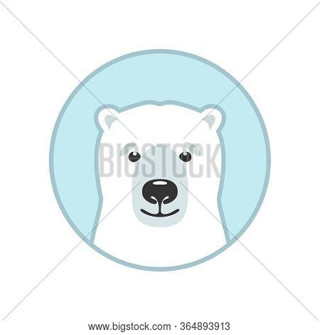 Polar Bear Graphic Icon. Arctic Bear Head Sign In The Circle Isolated On White Background. White Bea