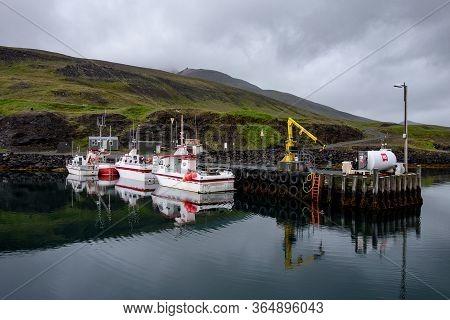 Puffin Marina, Iceland - July 3, 2014: The N1 Petrol Station In Puffin Marina, Iceland With Small Wh