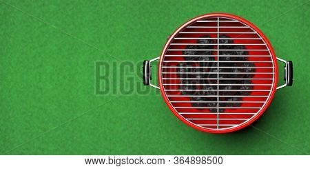 Bbq Grill. Barbecue Round Red Color Isolated Against Green Grass Background. 3D Illustration