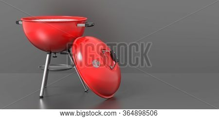 Bbq Grill. Barbecue Round With Cover Isolated Against Grey Background. 3D Illustration