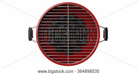 Bbq Grill. Barbecue Round Red Color Isolated Against White Background. 3D Illustration