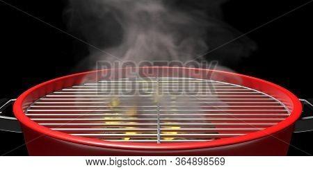 Bbq Grill. Barbecue Portable Closeup View. 3D Illustration