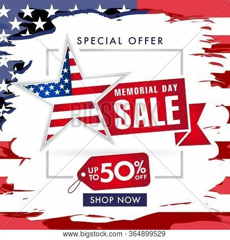Memorial Day Usa Sale With Special Offer Up To -50% Banner. Memorial Day With Grunge Flag And Brush