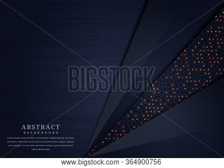 Abstract Dark Blue Geometric Overlapping Layer With Glitter And  Glowing Dots On Dark Blue Backgroun