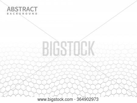 Abstract White And Gray Subtle Lattice Hexagon Pattern Background. Modern Style. Repeat Geometric Gr
