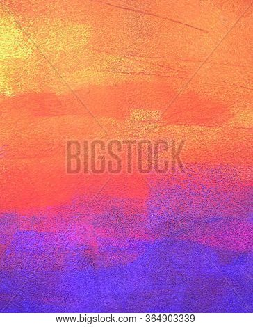 Bright Orange And Purple Abstract Background Paintted With Acryl On Paper, Paper Texture, Brush Stro