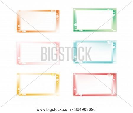 Set Of Colorful Horizontal Fantasy Glowing Blurred Frame Templates With Copyspace, Bubbles Or Flares