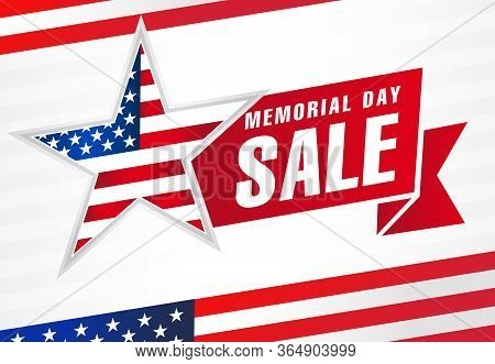 Memorial Day Usa Sale, Flag And Light Stripes Banner. Memorial Day With American Flag On Background.