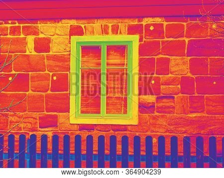 House Window In Thermography Measurement Scan. Traditional Construction Of Flathouse With Old Style