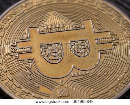 Physical Golden Coin With Bitcoin Symbol, Btc