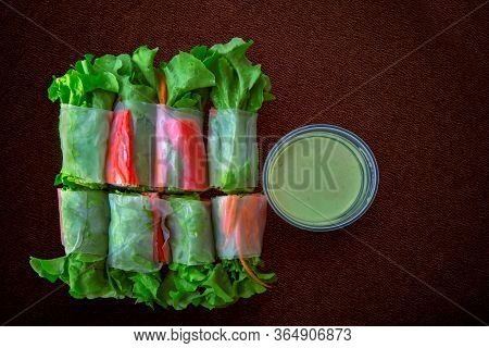 Fresh Spring Rolls With Fresh Vegetable And Crab Stick Served With Wasabi Mixed Salad Cream Dipping