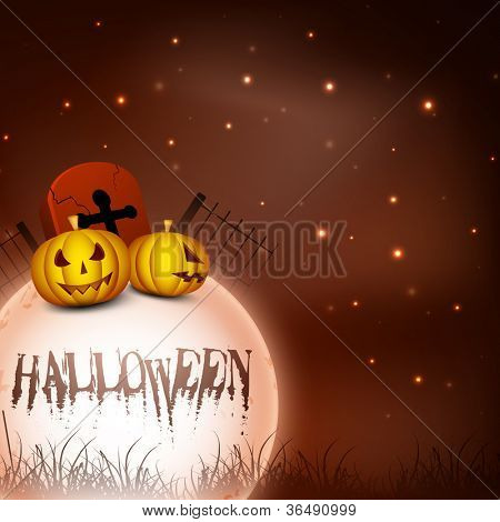 Scary Halloween full moon night background with pumpkins. EPS 10. poster