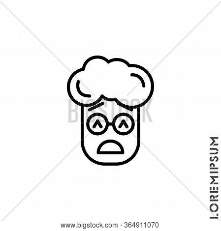 Sad Give Up Tired Emoticon Boy, Man Icon Vector Illustration. Outline Style. Very Sad Cry Stressful