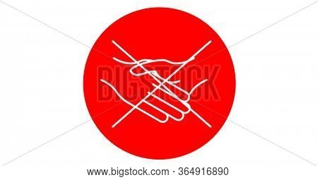 Digital illustration of crossed white outline of handshake on red background. Precautions social distancing hygiene coronavirus Covid-19 pandemic concept digitally generated image.