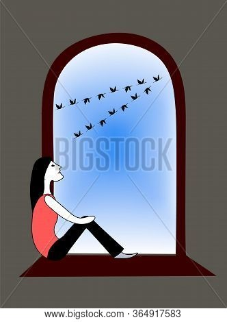 Girl Sitting On Windowsill Inside Room And Looks Out The Window At Crane Flock. Vector Hand Drawn Co