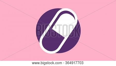 Digital illustration of white outline of pill over purple circle on pink background. Medication relief cure coronavirus Covid-19 pandemic concept digitally generated image.