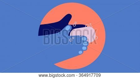 Digital illustration of instructions of hand washing with soap over orange circle on blue background. Precautions cleanliness hygiene coronavirus Covid-19 pandemic concept digitally generated image.