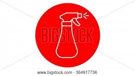 Digital illustration of a white outline of disinfectant spray over red circle on white background. Precautions disinfecting hygiene coronavirus Covid-19 pandemic concept digitally generated image.