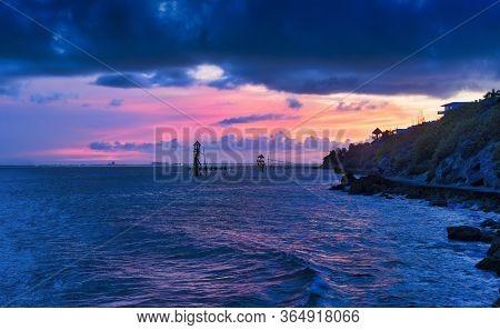 Tropical Beach At Beautiful Sunset Isla Mujeres Mexico. Nature Background Beach At Beautiful Sunset.