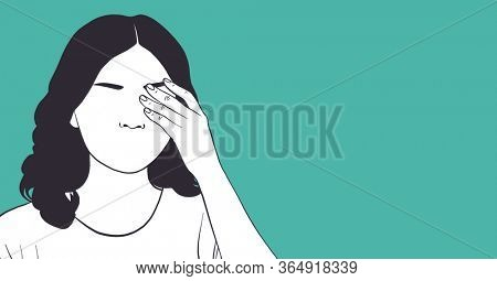 Digital illustration of a woman touching her face and eye with her hand on green background. Precautions hygiene coronavirus Covid-19 pandemic concept digitally generated image.