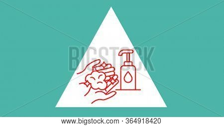 Digital illustration of instructions of hand washing with liquid soap in white triangle on green background. Precautions cleanliness hygiene coronavirus Covid-19 pandemic concept digitally generated