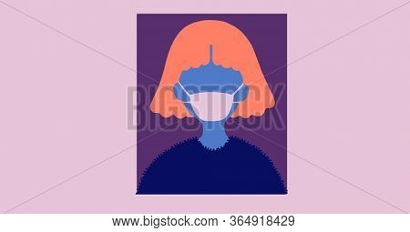 Digital illustration of a person wearing protective face mask on purple background. Precautions social distancing self isolation hygiene coronavirus Covid-19 pandemic concept digitally generated