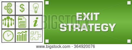 Exit Strategy Text Written Over Green Background.