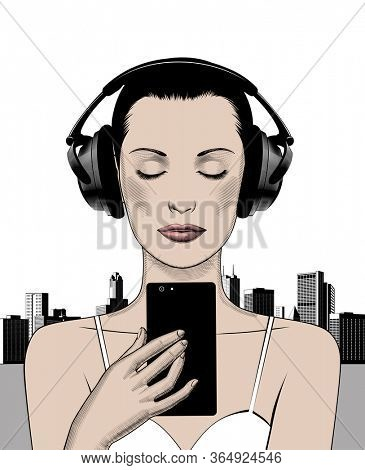 Face of a young woman on headphones.The girl listens to music . Music therapy.  Musician avatar side view.