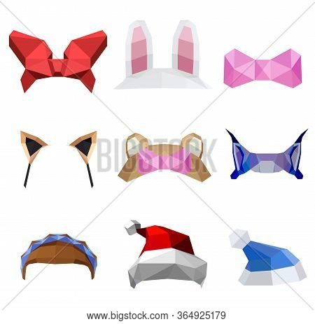 Polygonal Simple Design Low Poly Details: Red Bow, Rabbit Ears, Pink Bow, Cat Ears, Bear Ears, Lynx,