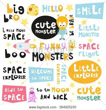 Space Phrases Set. Hand Drawn Motivation Quotes, Phrases And Words. Vector Illustration.