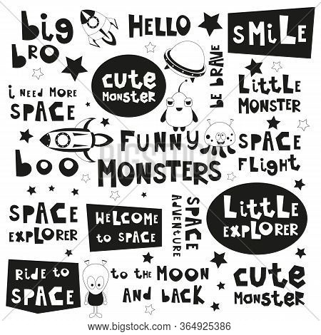 Space Phrases Set. Black And White Hand Drawn Motivation Quotes, Phrases And Words. Vector Illustrat