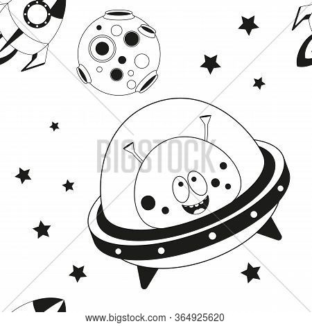 Funny Monsters Seamless Pattern - Cute Aliens, Ufo And Planets. Black And White Space Background. Mo