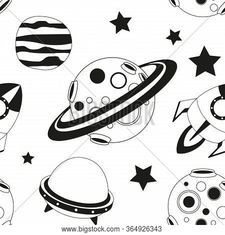 Space Seamless Pattern - Cartoon Planets And Rockets. Black And White Space Background. Monochrome V