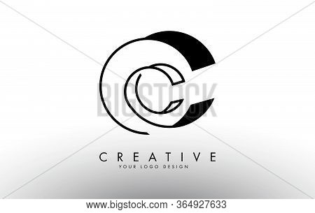 Outline Wired Monogram Cc C C Letters Logo Design. Creative Cc Letter Icon With Black Lines Vector I