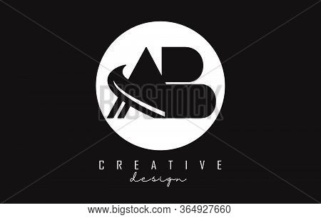 Monogram Ab A B Letters Logo Design. Creative Ab Letter Icon With Black Shapes And White Circle Back