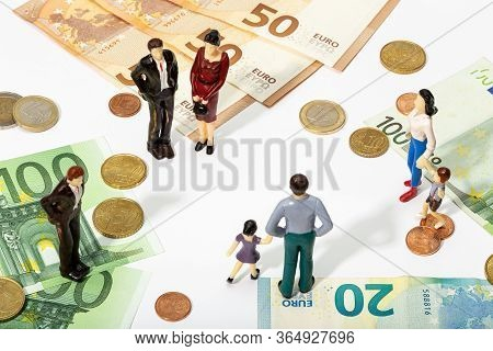 Finance, Investment Or Savings Background. Human Representation Of A People And Money
