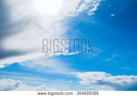 Dramatic blue sky background, vast sky landscape panoramic scene. Colorful sky view in bright tones. Sky background, vast sky landscape, panoramic sky nature. Sky beautiful view, sky landscape