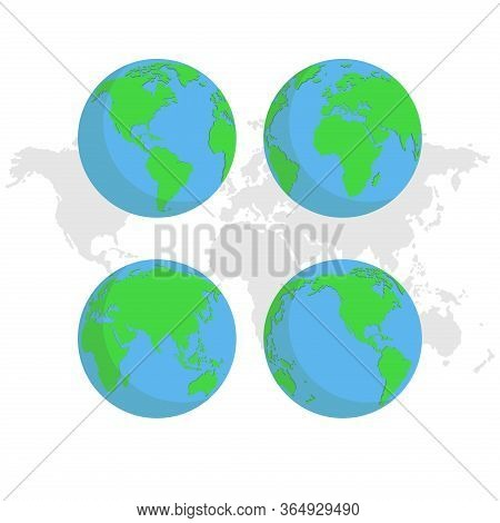World Globe Set. Globe Icon. Globe Vector. Globe Logo. Globe Symbol. World Map Icon. World Vector. G