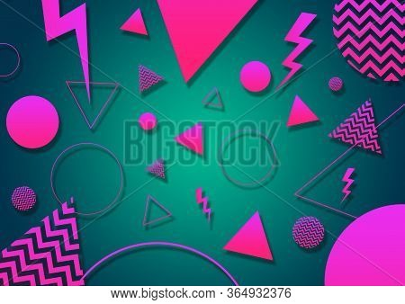 A Green, Pink And Coral Retro Vaporwave 90's Style Random Geometric Shapes With Vibrant Neon Color P