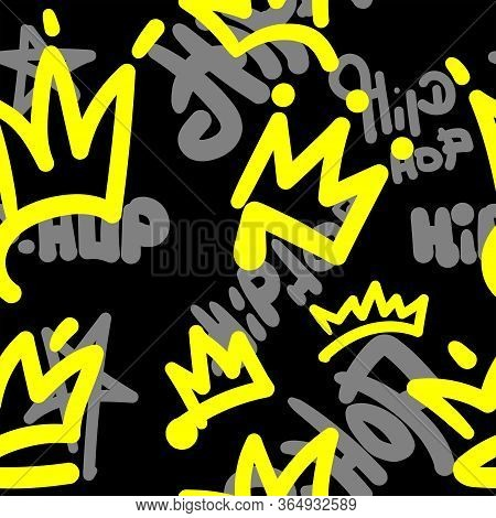 Seamless Pattern With Crowns And Hip Hop Lettering Drawn By Hand. Music Print. Stylish Vector Illust