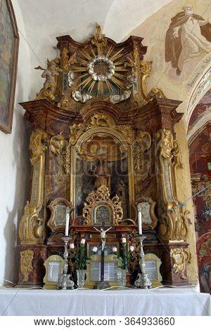 GORICA LEPOGLAVSKA, CROATIA - OCTOBER 08, 2016: The altar of Saint Barbara in the Chapel of Saint John the Baptist in Gorica Lepoglavska, Croatia