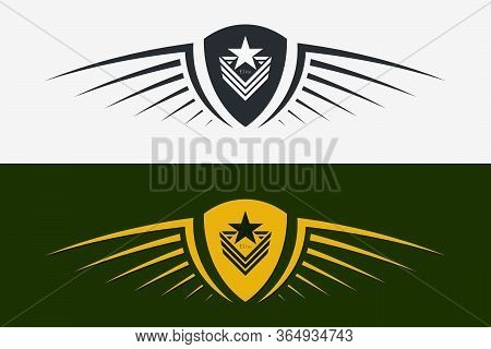 Winged Shield Emblem. Military Badge. Silhouette For Heraldry, Tattoo, Logo